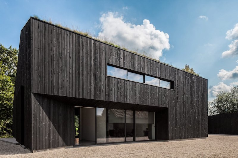 The house looks compact but has large glazed openings on each side which let the outdoors in