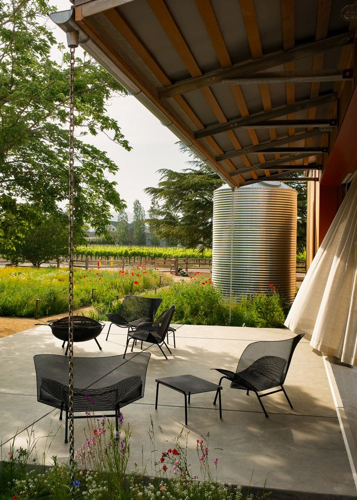 As the exterior walls open up, they form protective overhangs for the outdoor patios