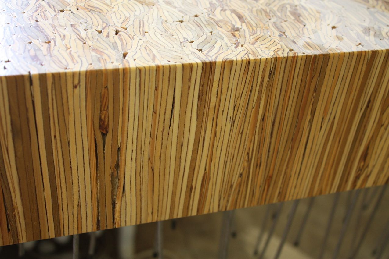 This version of the nebula table is made of Parallam, a composite wood typically used for architectural structures.