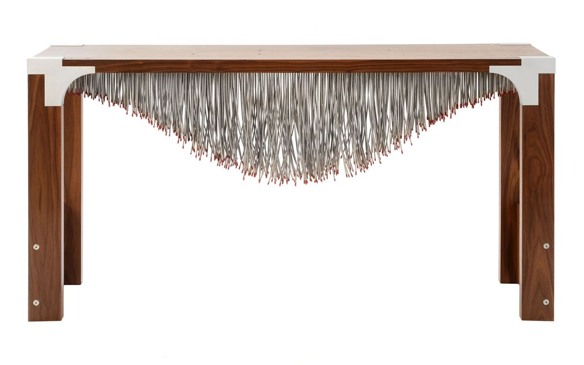 Nebula table made from 683 stainless steel cables