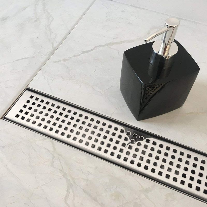 Neodrain Linear Shower Drain with Removable Quadrato Pattern Grate