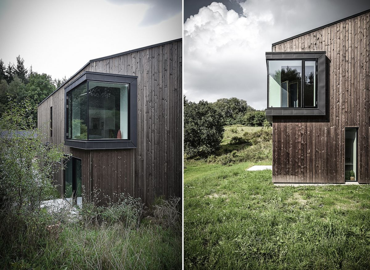 Two zinc-covered boxes give the house bay windows with cozy nooks on the inside