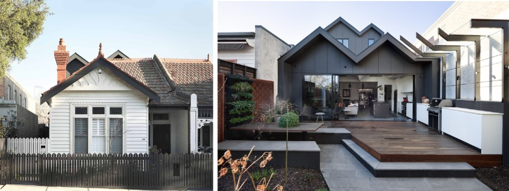 The only sign that an extension has been added to the house is the subtle outline of the roof