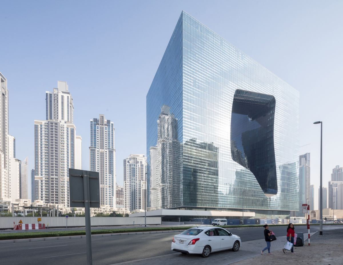 Apart from the unique shape, the building is very simple, in tone with the minimalistic aesthetic prefered by the architects