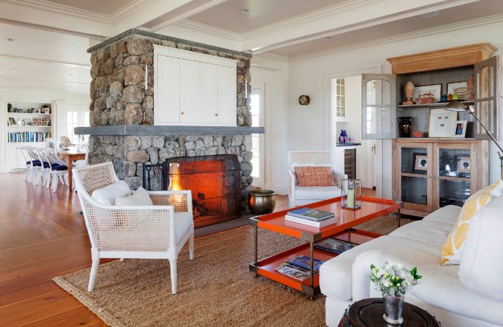 Orange metalic coffee table design in front of fireplace