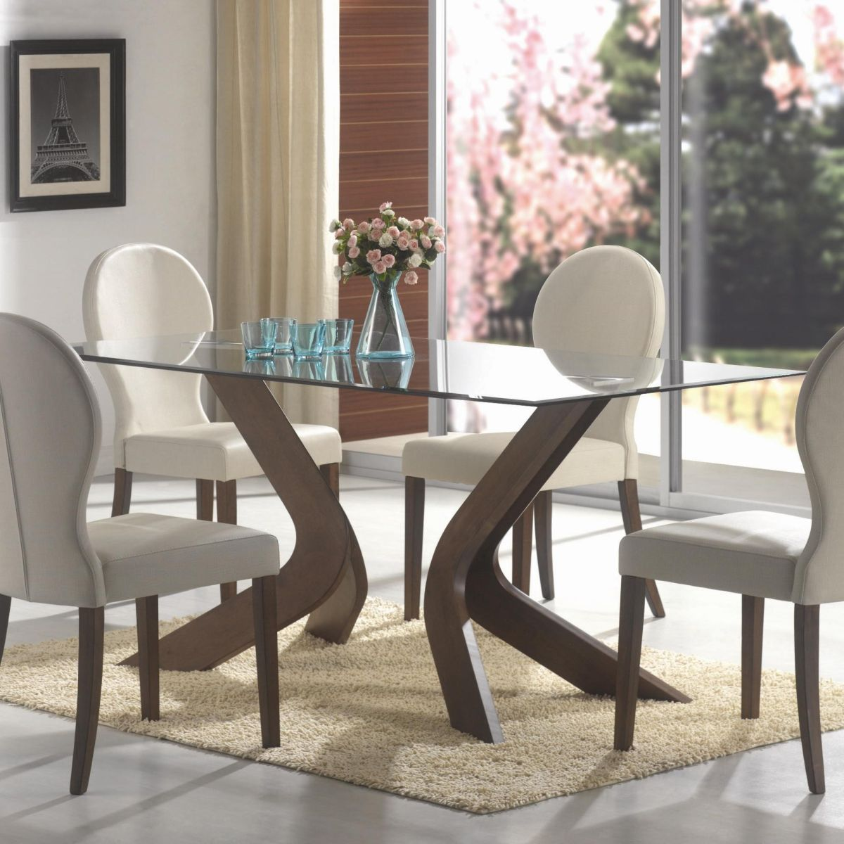 Oval back dining chairs and glass top table