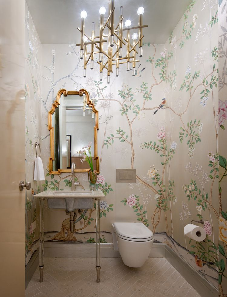 Powder room with a floral wallpaper