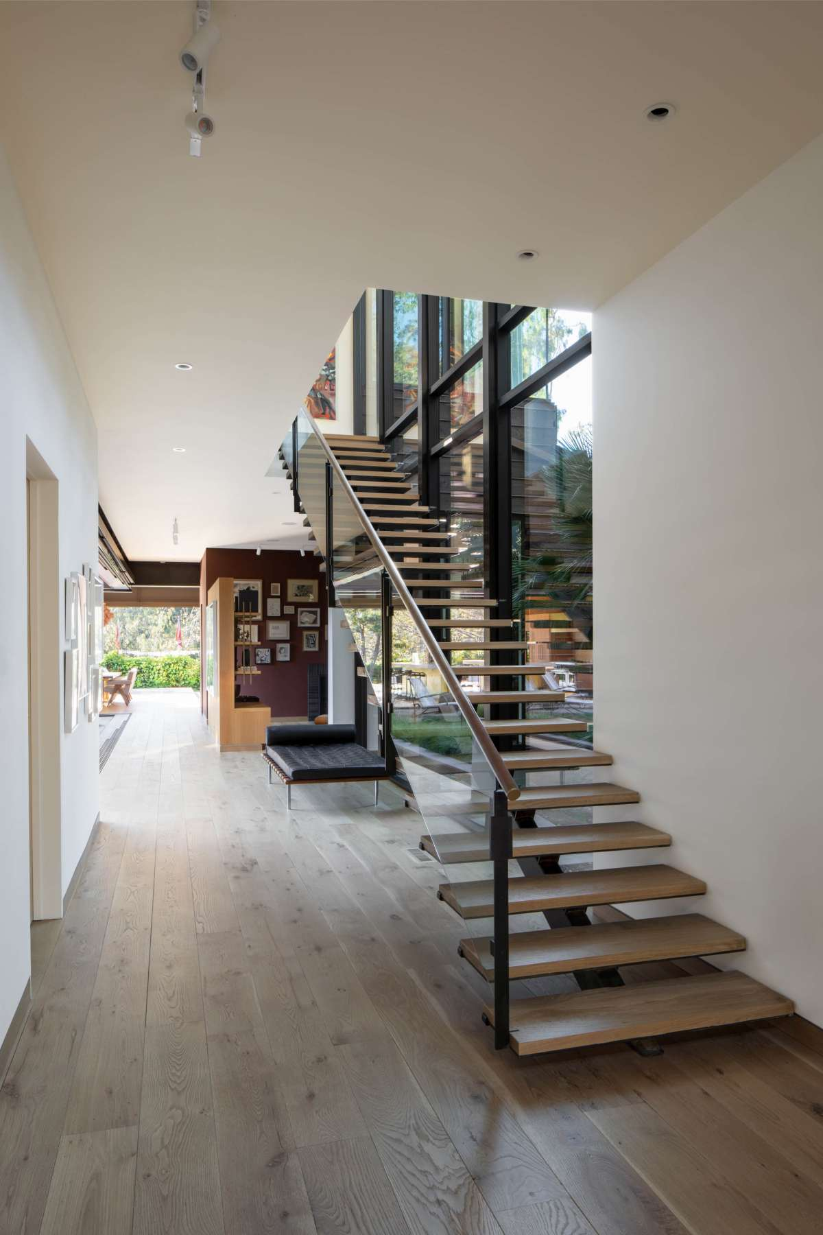 The interior is very open and peaceful, with lots of large windows and glazed walls