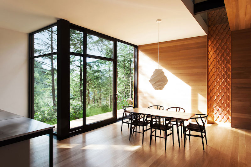 Sculptural tower house dining table and pendant