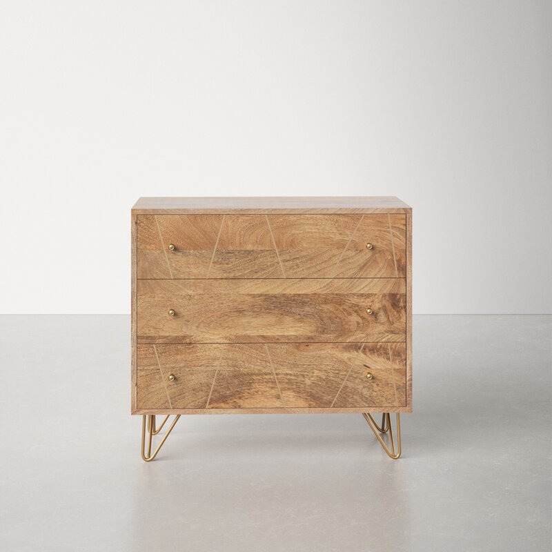 Solid wood dresser with hairpin legs