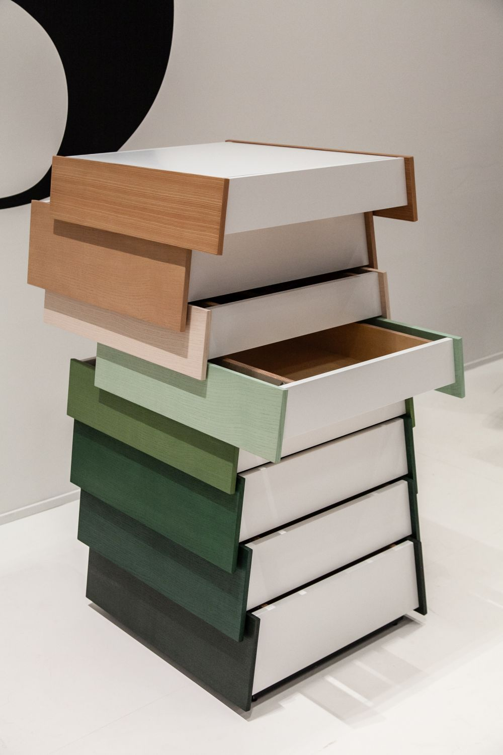 Sculptural dresser with drawers that open both directions