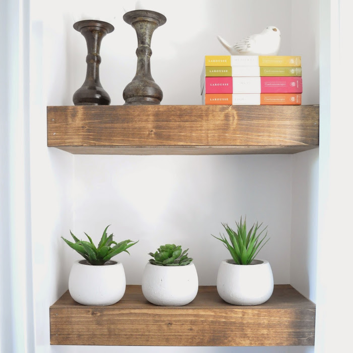 Stained wood shelves