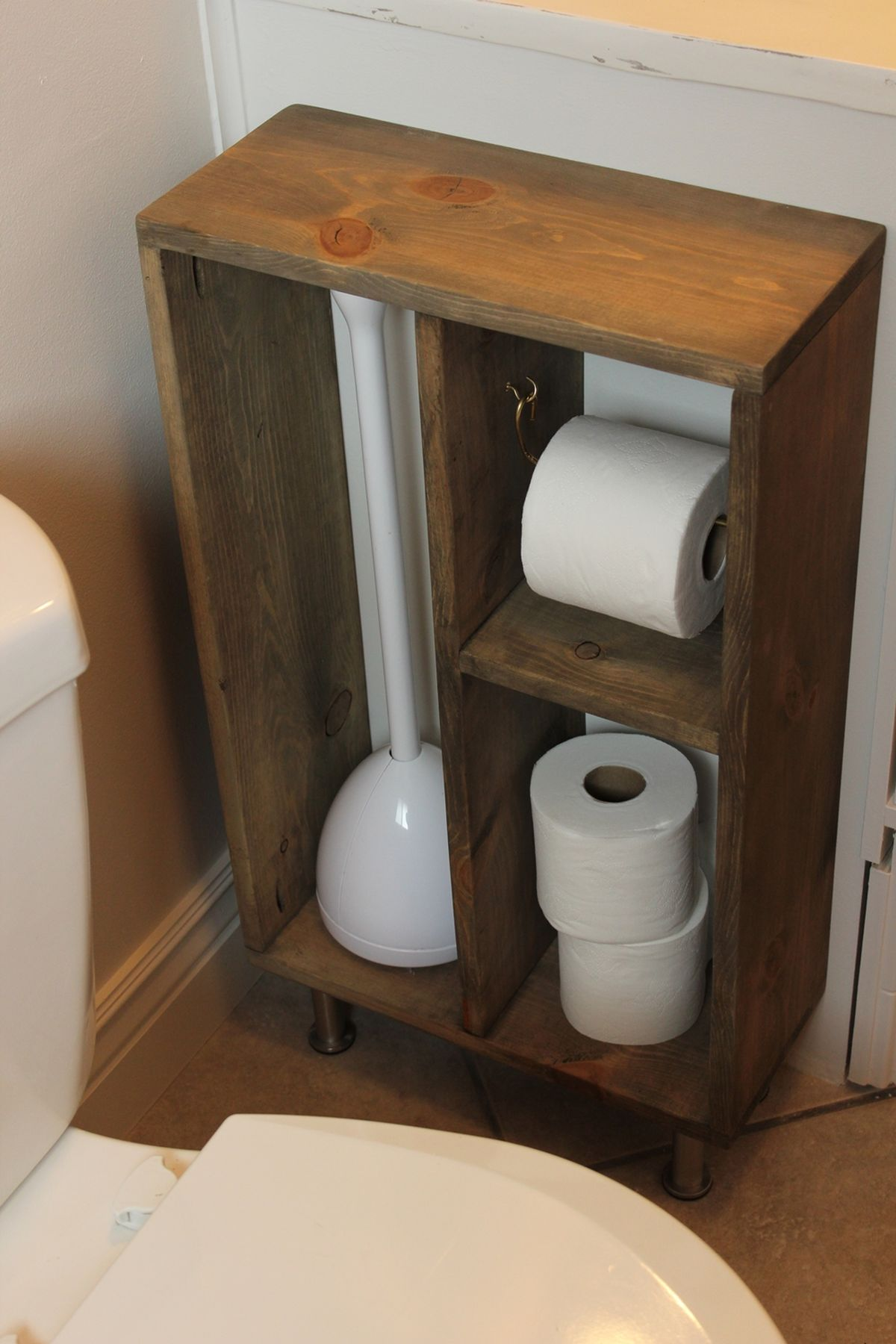 Standing wood storage for toilet paper