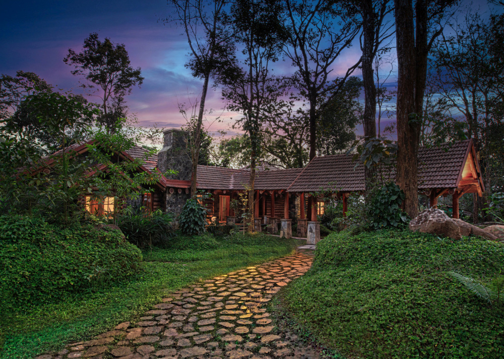 The stone pathway that winds through the trees gives this place a very magical look and feel