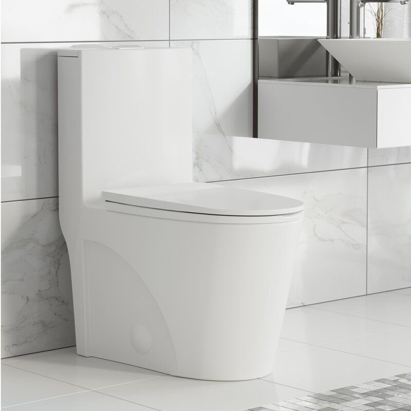 Swiss madison st tropez 128 gpf water efficient elongated one piece toilet seat included