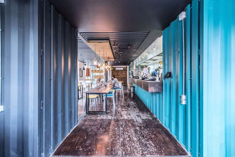 The interior design is simplistic and faithful to the industrial nature of the modules
