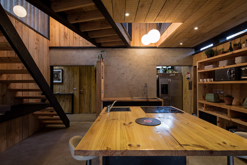 Wood was the main material used throughout the house as well as for its exterior design