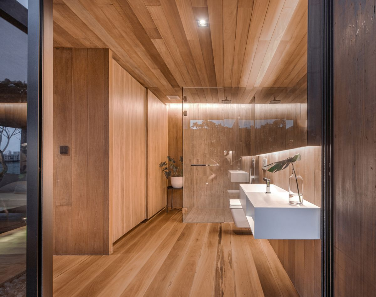 The bathroom has the same warm and welcoming vibe as the rest of the house