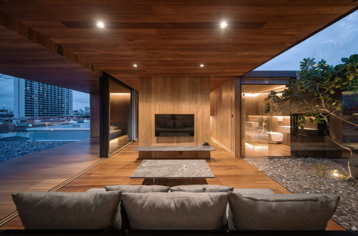 The interior is not designed for entertainment but rather as a cozy private retreat for the owner