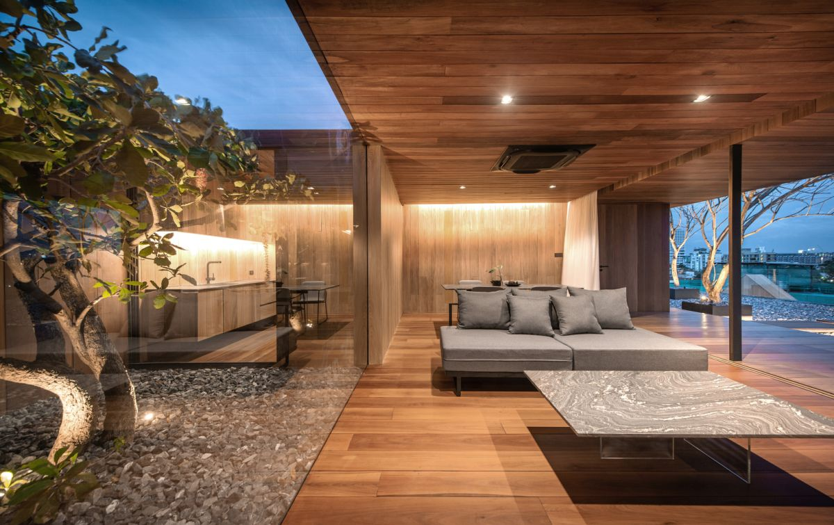 There's a little courtyard at the center of the house which can be seed from every room
