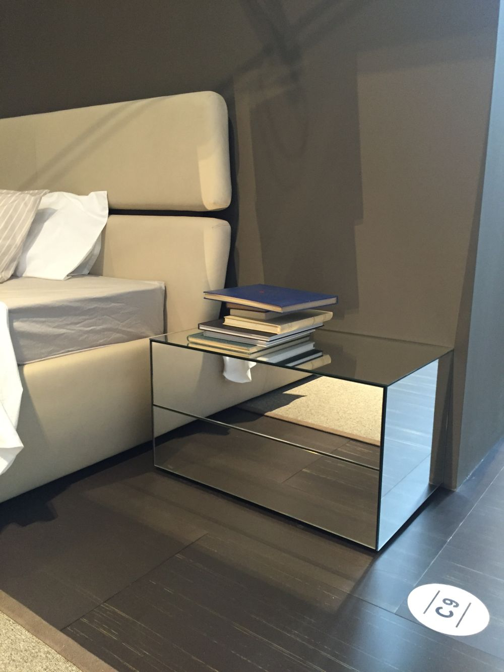A mirrored nightstand can be pretty large without looking big or robust