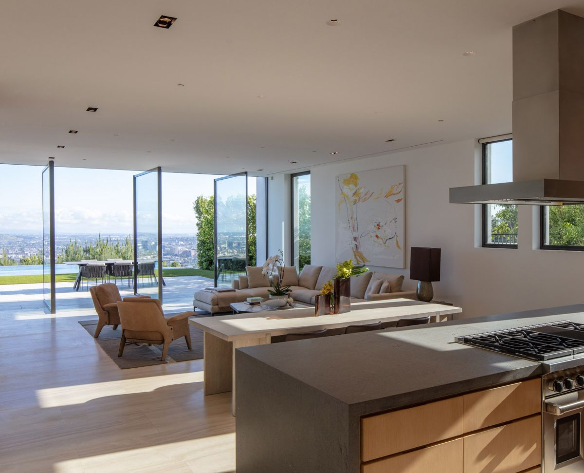 Pivot glass door allow the interior spaces to be easily opened onto the terrace and the back garden