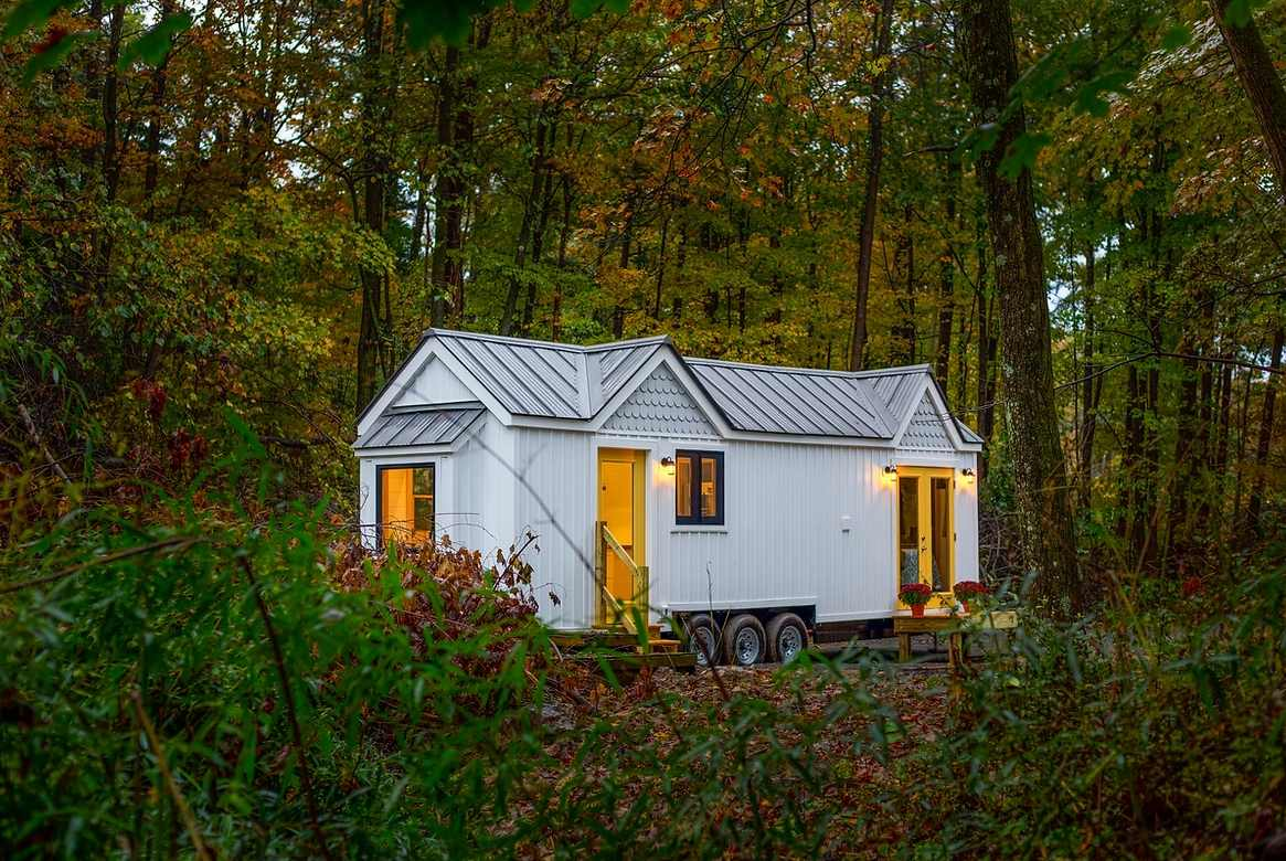 Although small, this little house on wheels has an intricate roof design