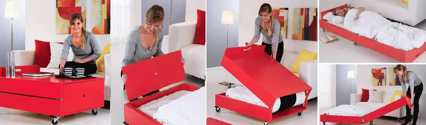 Turn the coffee table into a bed