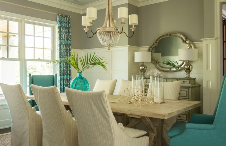 Turquoise dining room seating