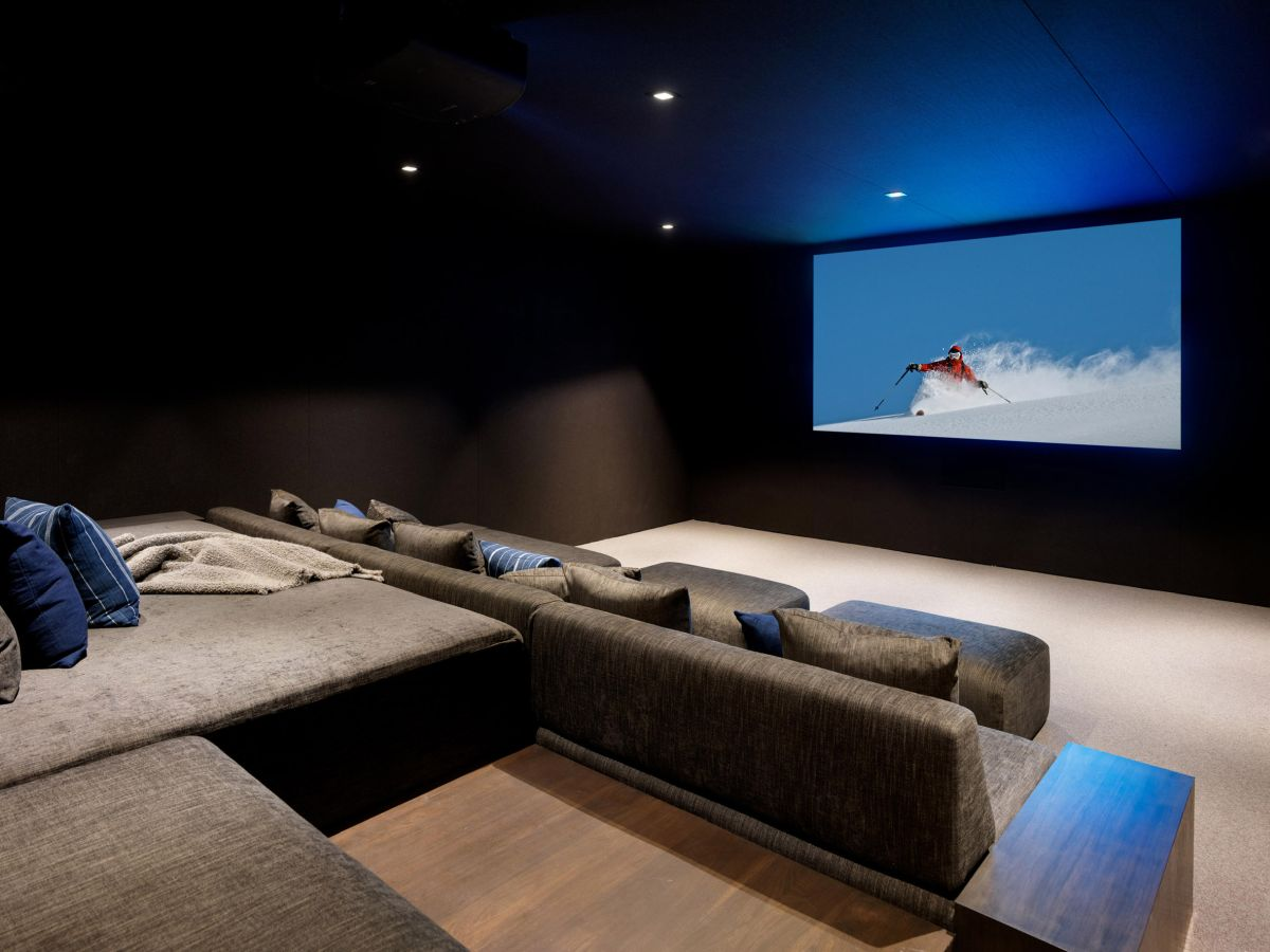 The Teton House has its private home theatre situated on the lower level