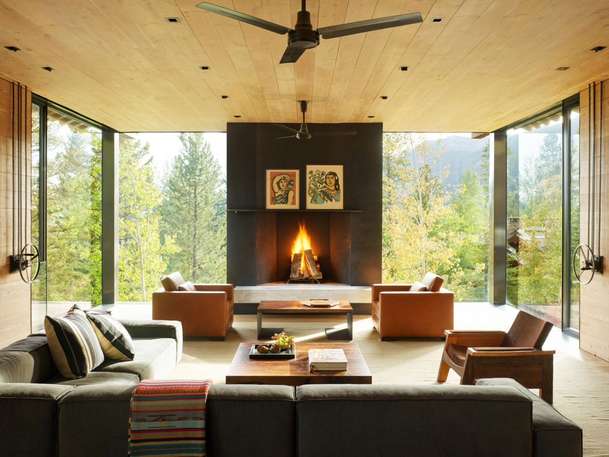The living inside the main house has a black fireplace framed by large windows with a clean view of the forest