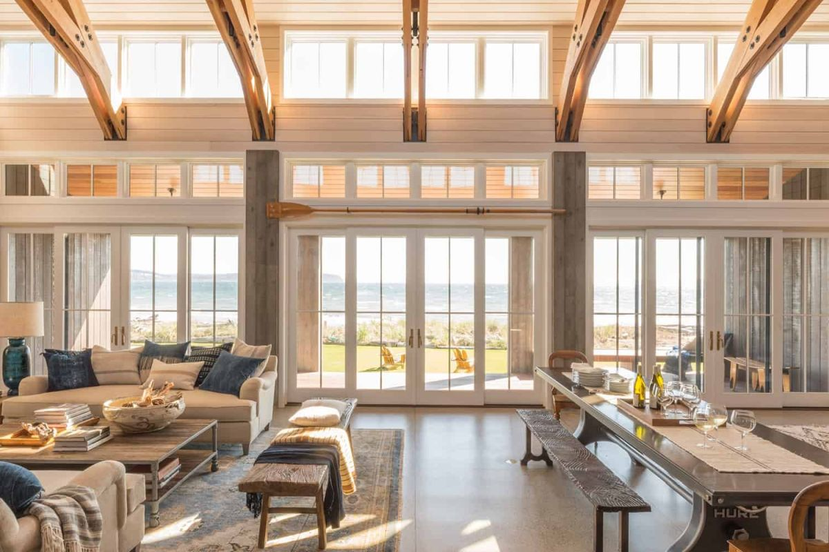 At the center there's a spacious great room with lots of windows that flood it with natural light
