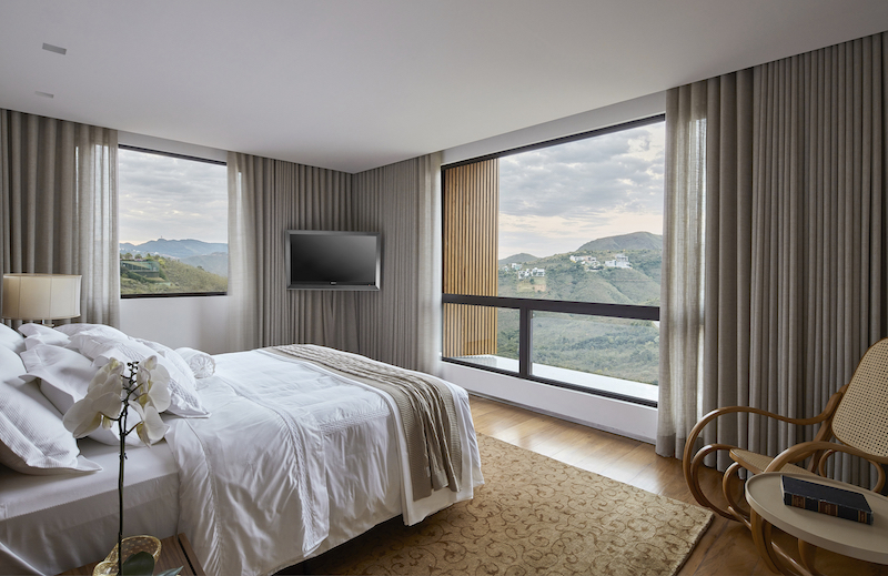 The bedrooms occupy the upper floor and have stunning views toward the horizon