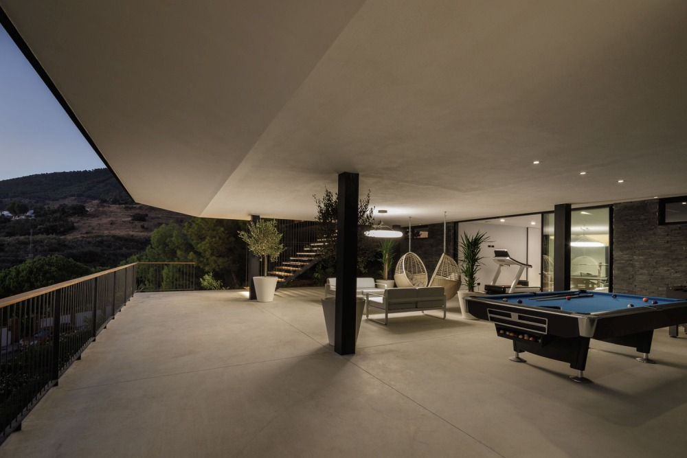 This spacious outdoor terrace is multifunctional and can serve as a gym and lounge area