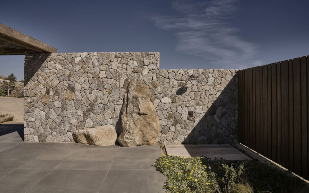 The texture stone walls were built by hand and look exquisite