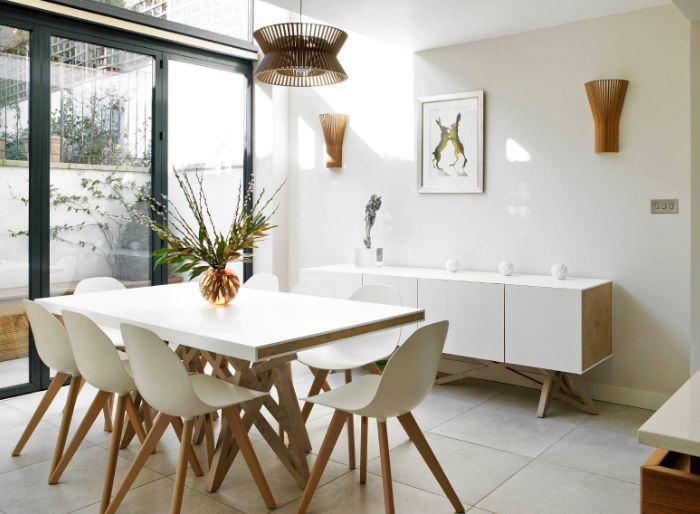 White dining room furniture with a mid century sideboard