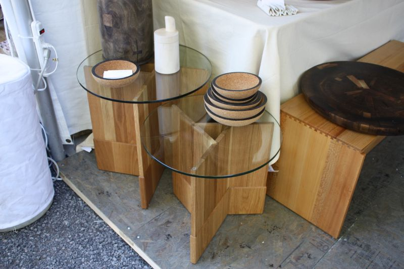 Wyatt wood base and glass top tables