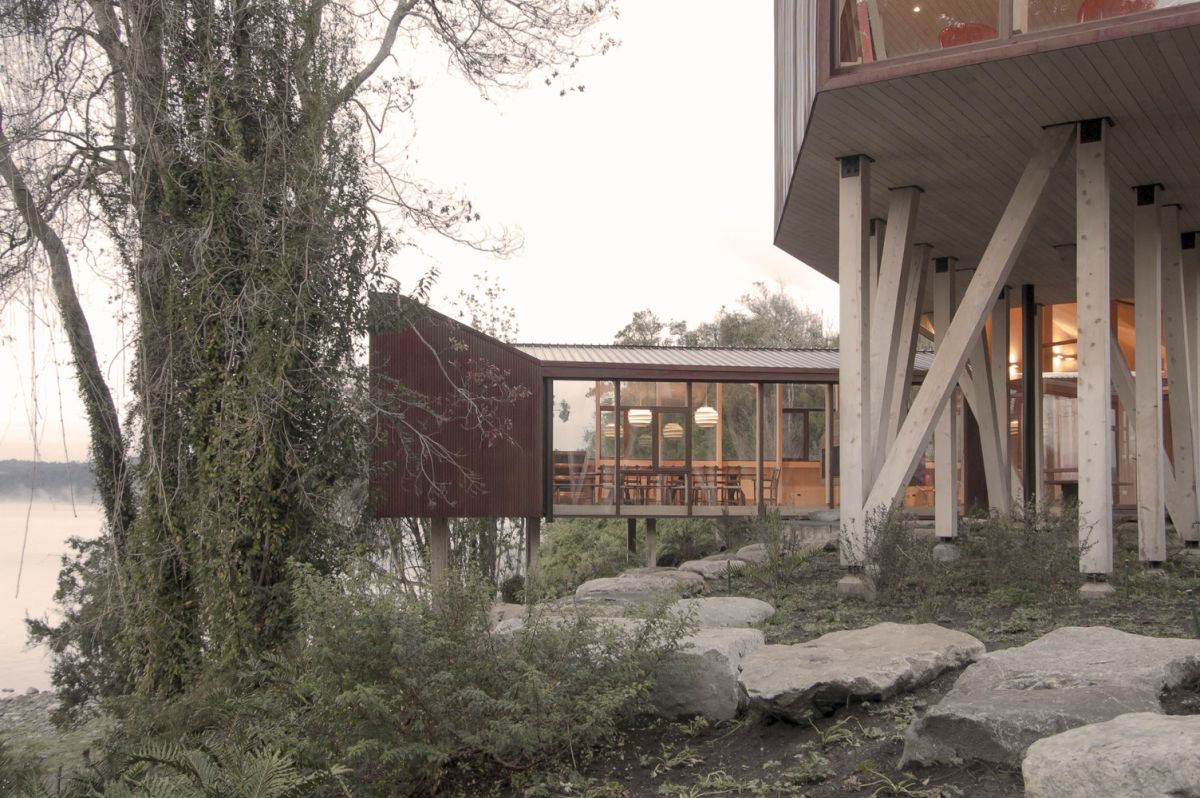 The terrain is uneven and difficult to work with, hence the cantilevered design