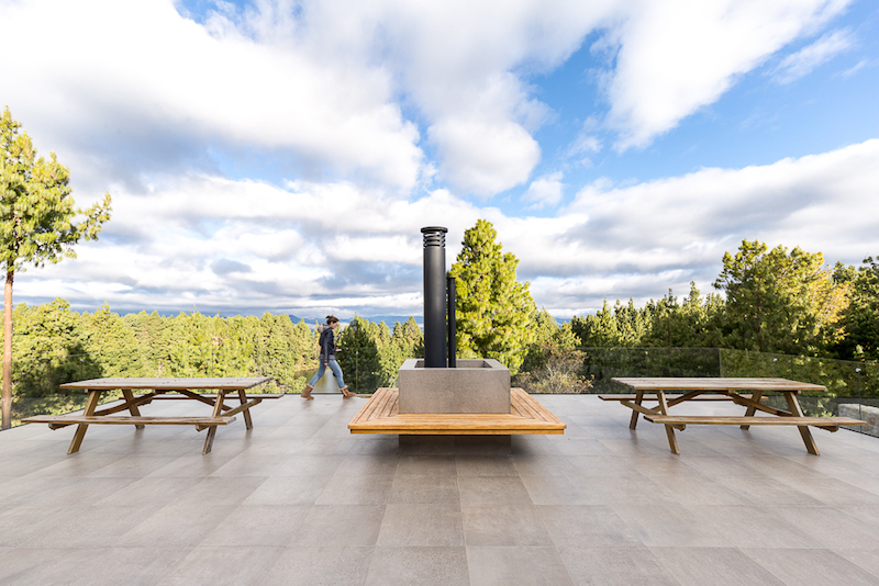 The rooftop terrace is an open social area with simple furniture, glass guardrails and views over the treetops