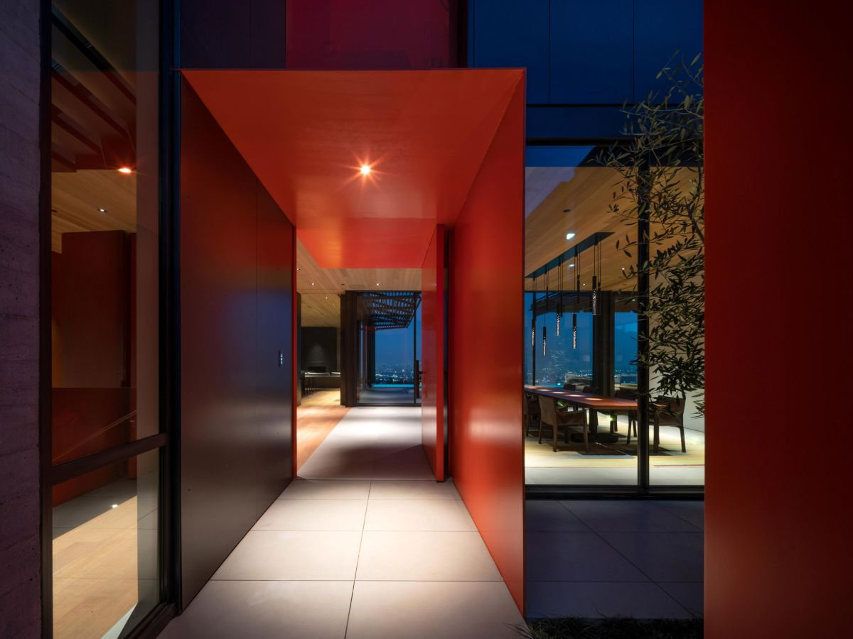 Bright pops of color are occasionally included in the design as a way to complement the surroundings