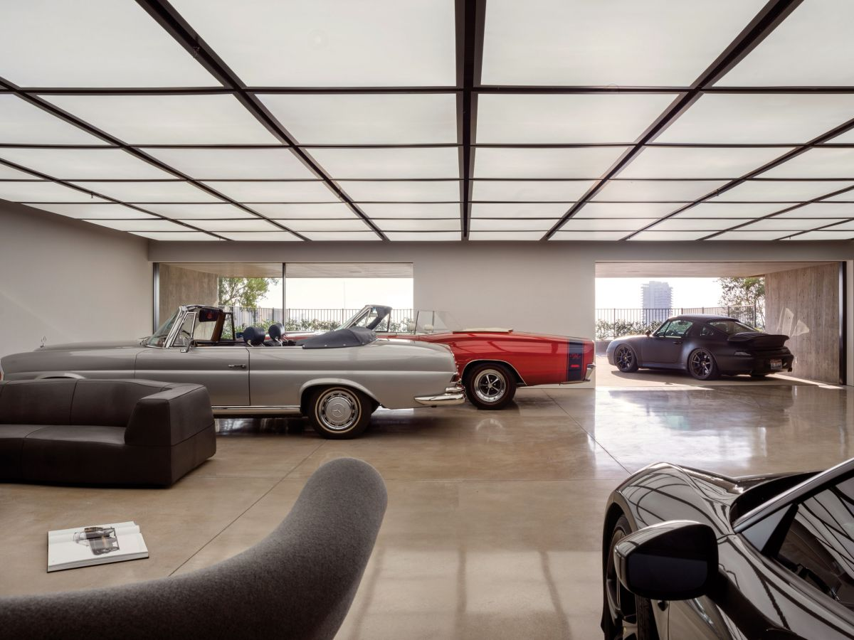 A big portion of the lower level is dedicated to a car gallery
