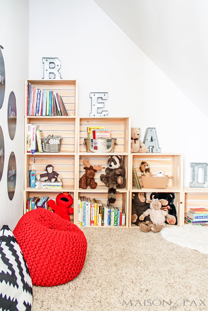 reading room with creates bookcase