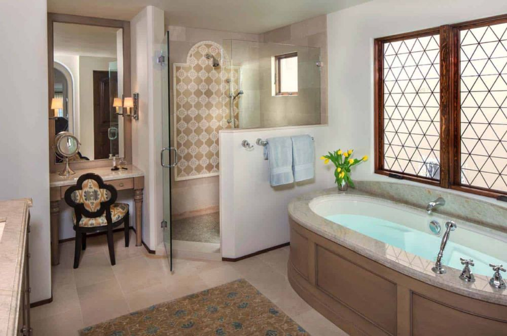 The house has four and a half baths, all infused with Mediterranean influences
