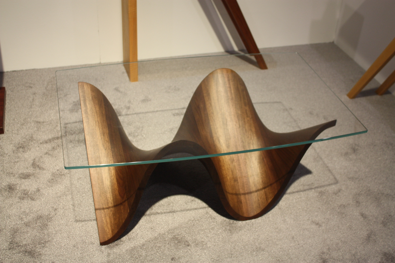 woman woodworker coffee table